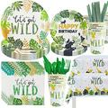 Safari Birthday Decorations Tableware Set - Animal Jungle Theme Party Supplies Includes Plates, Napkins, Tablecloths, Straws, Cups, Cutlery for Where The Wild Things Are Party Supplies | Serves 24