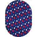 Navy Blue Oval Area Rug Carpet,American Flag Inspired Patriotic Design with The Stars Image Printed Pattern Area Rugs Carpets,6'x 9'Oval,for Kids Nursery Teens Room Girls Boys