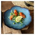 Dishes Dessert Plates Creative Mori Girl Ceramic Tableware Peacock Blue Lotus Plate Western Food Plate Steak Plate Salad Plate Breakfast Plate Flat Plate Appetizers Salad Plates (Color : 8 inches)
