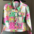 Lilly Pulitzer Jackets & Coats | Lilly Pulitzer - Denim Jacket - Small - Euc | Color: Green/Pink | Size: S