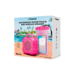 Polaroid Pink Waterproof Phone Pouch and Wireless Speaker
