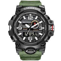 Koodea 8035 Men Sport Watches Dual Time Digital Watch Quartz 50m Waterproof Watch Led Military Watch Sport 8035 Men Watches Wristwatch (Green)