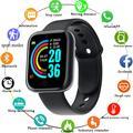 Montre connectée de Sport Y68 pour hommes et femmes, Bluetooth, moniteur de fréquence cardiaque, de