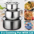 3 pièces/ensemble en acier inoxydable soupe Stock Pots avec couvercles ustensiles de cuisine ragoût