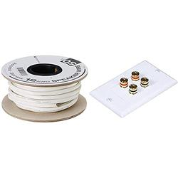 Monoprice Access Series 12 Gauge AWG CL2 Rated 2 Conductor Speaker Wire/Cable - 50ft Fire Safety in Wall Rated & Banana Binding Post Two-Piece Inset Wall Plate for 2 Speakers