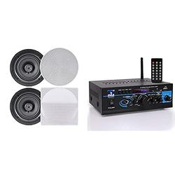 Pyle Ceiling Speakers - Stereo Home Theater Speakers - in Wall Speakers Flush Mount & Home Audio Power Amplifier System - 2X40W Mini Dual Channel Mixer Sound Stereo Receiver Box w/AUX, Mic Input