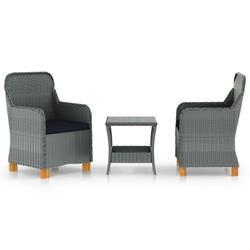 vidaXL 3 Piece Garden Lounge Set with Cushions Poly Rattan Light Gray