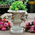 QULONG Angel Flower Pot Garden Memorial Planter Roman Column Figurine Poly Resin Vase Outdoor Decoration,Roman Flower Pot