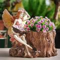QULONG Flower Fairy Planter Fairy Flower Plant Pot Angel Garden Ornament Outdoor Sculpture,with Water Hole