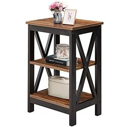 VECELO Side/End Storage with Shelf Versatile Nightstands Lamp Table Living Room Bedroom Furniture, Shelves, Brown