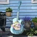 QULONG Creative Guitar Flower Pot Outdoor Art Planter Ornaments Garden Decoration Home Decors Statue,Guitar