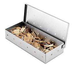 Smoker Box,Stainless Steel BBQ Smoker Box for Grilling Barbecue Wood Chips On Gas Grill or Charcoal Grill Grilling,Add Smokey BBQ Flavor,Ideal Grilling Accessories for Barbecue Meat Smoking.