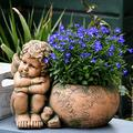 QULONG Boy Angel Succulent Plant Flower Pot Home Garden Memorial Poly Resin Garden Decor,Angel B