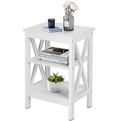 VECELO Side/End Storage with Shelf Versatile Nightstands Lamp Table Living Room Bedroom Furniture, Shelves, White