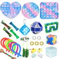 30pcs Fidget Toys Sensory Fidget Toys Set Fidget Toys Set Tangle Fidget Toys Anti-Anxiety Tools and Special Toys Fidget Toys Relieves Stress Squeeze Toy for Birthday Party Pink