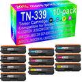 10-Pack (4BK+2C+2Y+2M) Compatible 9270CDN L8400CDN HL-L9200CDW L8450CDW Laser Printer Toner Cartridge Replacement for Brother TN-339 (4X TN-339K 4X TN-339C 4X TN-339Y 4X TN-339M) Toner Cartridge