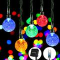 Solar String Lights Outdoor Waterproof, 26.3FT 50 LED Crystal Globe Twinkle Lights Solar Powered& USB Plug-in Powered with 8 Lighting Modes for Patio Garden Backyard Party (50 LED, Multi-Colored)