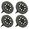 Solar Powered 8 LED Outdoor Disk Lights, Stone and Slate, 4 Pack Solar Lights Outdoor Solar Lights Outdoor Garden Solar Lights Solar Pathway Lights