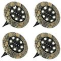 Solar Powered 8 LED Outdoor Disk Lights, Stone and Slate, Solar Lights Outdoor Solar Lights Outdoor Garden Solar Lights Solar Pathway Lights
