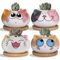 CERANEE 4 Pack Cute Cat Succulent Pots, 3.6 Inch Mini Ceramic Planter Pot with Drainage Hole & Bamboo Tray (Plant Not Included)
