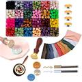 Sealing Wax Stamp Kit, Sealing Wax for Wax Seal Stamp, Kit with Wax Seal Beads, Vintage Envelopes, Wax Stamp and Metallic Pen for Wax Seal, Sealing Envelopes, Crafts and Decoration (24 Colors)