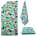 Microfiber Quick Dry Beach Towel with Zipper Pocket, Super Soft Two Sides Printing Travel Pool Towel, Personalized Sand Free Beach Towels for Womens Mens (Dinosaur)