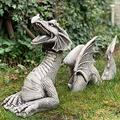 Large Dragon Gothic Garden Decor Statue - The Dragon of Falkenberg Castle Moat Lawn Garden Statue, Funny Outdoor Figurine, Yard Art, Resistant Statue for Garden, Garden Sculptures & Statues (B)