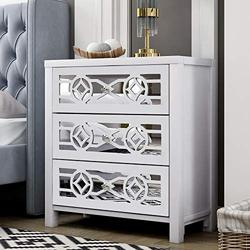 Storage Chest with Decorative Mirror and 3 Drawers, Wooden Accent Cabinet Nightstand Chest, Wide Storage Space Cabinet Organizer for Bedroom, Living Room, Entryway (Antique White)