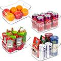 "Refrigerator Organizer Bins, 4 Pack Clear Plastic Food Storage Bin with Handle for Kitchen, Countertops, Cabinets, Refrigerator, Freezer, Bathrooms Pantry Organization and Storage, BPA Free, 9.5"" Long"