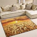 Personalized Wheat Field Cereals Grain Sunset Area Rug Birthday Gifts for Mom Kids Chair Flannel Floor Pads for Living Room Bedroom Dorm Office Outdoor Area 2x3 3x5 4x6 5x8 Area Rug