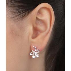 Azro Silver Women's Earrings Silver - Sterling Silver Flower Stud Earrings