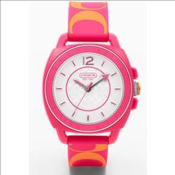 Coach Accessories | Pink & Orange Coach Boyfriend Silicon Watch | Color: Orange/Pink | Size: Os