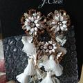 J. Crew Jewelry | J. Crew White Bloom Flower Statement Earrings Nwt | Color: Gold/Tan/White | Size: Os