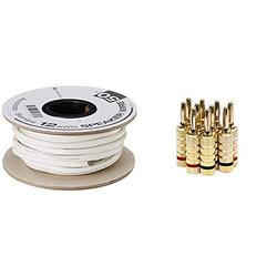 Monoprice Access Series 12 Gauge AWG CL2 Rated 2 Conductor Speaker Wire/Cable - 50ft Fire Safety in Wall Rated & 109436 Gold Plated Speaker Banana Plugs – 5 Pairs