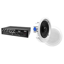 """Home Audio Power Amplifier Mixer - 240W 5 Channel Sound Stereo Entertainment Receiver Box & 6.5"""" Ceiling Wall Mount Speakers - Pair of 2-Way Midbass Woofer Speaker 70v Transformer 1"""" Titanium Dome"""