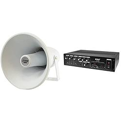 Indoor Outdoor PA Horn Speaker - 9.4 Inch 30-Watt Power Compact Loud Sound Megaphone w/400Hz-10KHz Frequency & Home Audio Power Amplifier Mixer - 240W 5Channel Sound Stereo Entertainment Receiver Box
