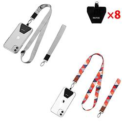 OUTXE Universal Phone Lanyard - 8× Durable Pads, 2× Adjustable Neck Strap, 2× Wrist Strap, Nylon Cell Phone Lanyard Compatible with iPhone, Samsung Galaxy and All Smartphones ( Grey + Bright Red )