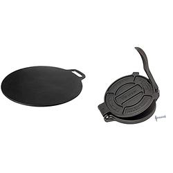 Victoria Cast Iron Pizza Crepe Pan, 15 Inch, Black & 8 Inch Cast Iron Tortilla Press. Tortilla Maker, Flour Tortilla press, Rotis Press, Dough Press, Pataconera Seasoned with Flaxeed Oil, Black -