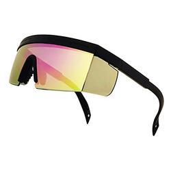 ShadyVEU Semi Rimless Neon Rainbow Sunglasses Mirrored Lens UV Protection 80s Retro Rave Shades Crooked ZigZag Bolt Arm (TR90 Flexible Frame / Purple Mirorred Lens)