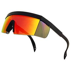 ShadyVEU Semi Rimless Neon Rainbow Sunglasses Mirrored Lens UV Protection 80s Retro Rave Shades Crooked ZigZag Bolt Arm (TR90 Flexible Frame / Fire Red Mirrored Lens)