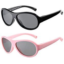Polarized Baby Sunglasses TPEE Rubber Flexible Frame Shades Glasses for Girls Boys Age 0-2 (Black Frame/Grey Lens + Pink Frame/Grey Lens)