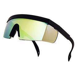 ShadyVEU Semi Rimless Neon Rainbow Sunglasses Mirrored Lens UV Protection 80s Retro Rave Shades Crooked ZigZag Bolt Arm (TR90 Flexible Frame / Jade Green Mirrored Lens)