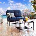 PatioFestival Patio Cushions Loveseat with Coffee Table, Cushions, Modern Metal Frame and Aluminum-Plastic Plate Table, Outdoor Furniture Set for Front Porch, Patio, Poolside (2 PCs, Blue)