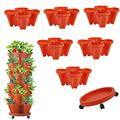 CHAOMIC Stackable Garden Planters Stand Stacking Planters Strawberry Planting Pots 6 Tier Stackable Herb Garden Planter Set Vegetable Melon Fruit Tower Planting Pot (Brick Red)