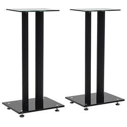 vidaXL 2X Speaker Stands Tempered Glass 2 Pillars Design Speaker Holders Speaker Platform Stand Table Bookshelf Monitor Speaker Sound Support Black