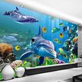 wall mural wallpaper Under the sea world ocean coral dolphins Picture Decoration Self Adhesive Wallpaper Peel and Stick Giant murals Art Mural Removable Wall Mural Art Wallpaper for Home Nursery Weddi