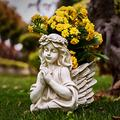 "Angel Bust Garden Statue Planters, Angel Wing Planters Pots with Hands Clasped for Patio, Lawn, Yard Art, Cemetery Grave Decoration, Resin Stone Classical Antique , 8.26"" H (Angel Bust Planters)"