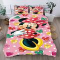 Girls Minnie Mouse Bedding Set Full Size Bedding Duver Cover Set Minnie Mouse Quilt Cover Set Bed Sets Bedding Cover for Kids