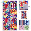 """Hyhyco Quick Dry Beach Towel-Sand Free Beach Towel Oversized Beach Towels-Microfiber Beach Towel-Bulk Beach Towels for Adults -Personalized Beach Towel 35.5""""x 71""""(Fantasy Geometry)"""