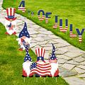 WEHVKEI 4th of July Yard Signs with Stakes, 12PC Patriotic Garden Yard Stakes Outdoor Decor for Memorial Day Independence Day, Alphabets Gnome Party Supplies Decoration for Landscape Patio & Lawn